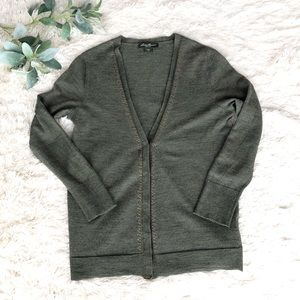 Eddie Bauer Merino wool green cardigan L
